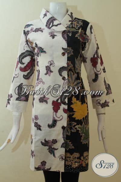 Dress Charlote Hitam Bahan Twistcone Kombi Katun Batik Asli Sleti dress batik kombinasi tulis dengan dua motif berbeda baju batik putih kombinasi hitam wanita
