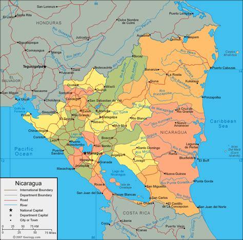 south america map nicaragua a map of nicaragua america