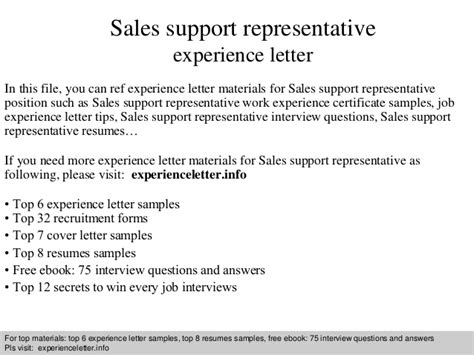 Sle Letter For Support Sales Support Representative Experience Letter