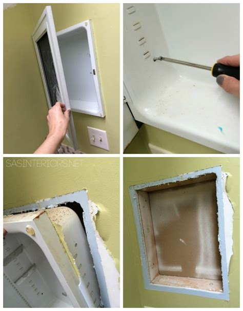 How To Remove A Vanity Mirror by Bathroom Makeover Tiled Niche Day 19 20 Burger