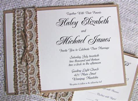 rustic lace wedding invitation burlap wedding invitation