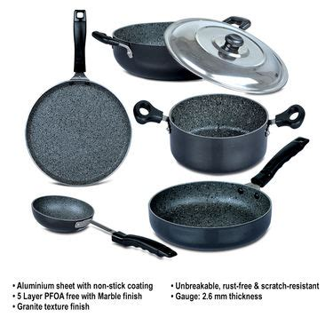 Granite Countertops Pans by Buy 5 Pcs Granite Texture Finish Cookware At Best