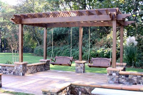 porch swings atlanta carpentry patio swing arbor landscaping atlanta