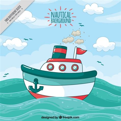 cartoon boat waves nautical background with ship and waves vector free download