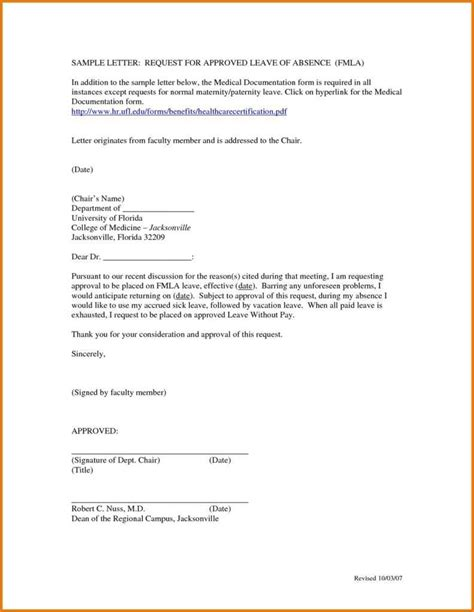 sample leave absence letter employmenttemplates