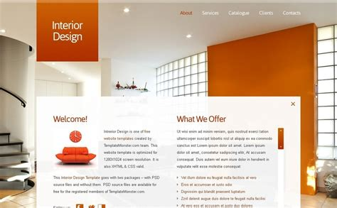 Free Full Javascript Animated Template Interior Design Interior Design Website Templates