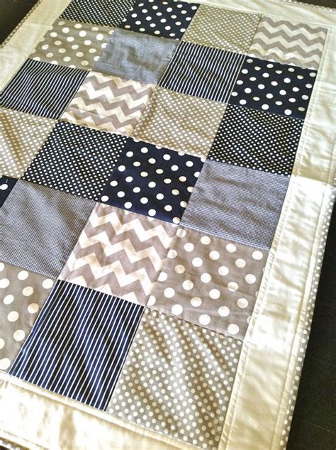 Navy Crib Quilt by Baby Boy Crib Quilt In Modern Navy And Grey