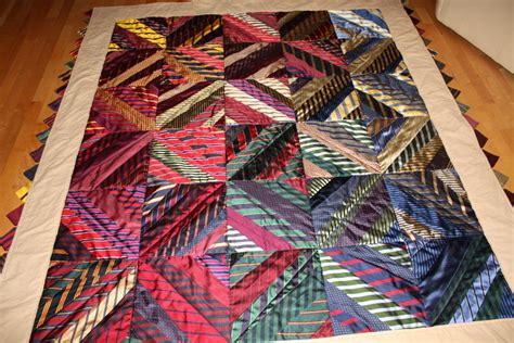 Quilt Made From Ties by Custom Necktie Quilt Made Using Mens Neck By Happyquiltdesigns