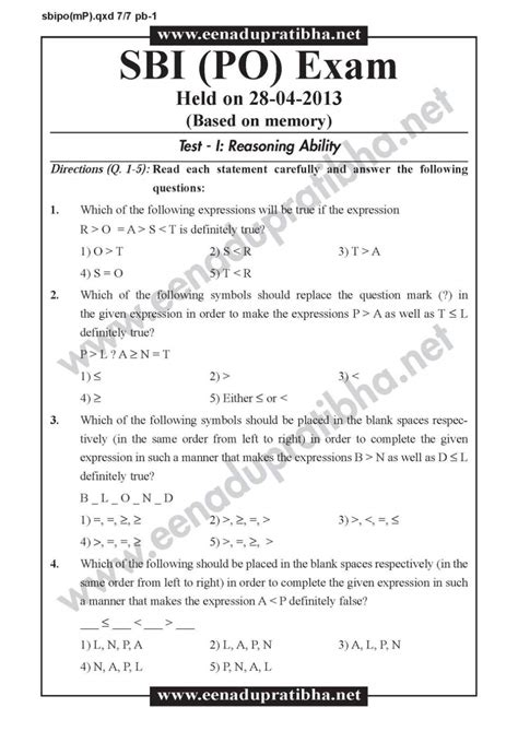 question paper of bank po sbi bank po question paper 2017 2018 student forum