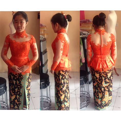 Kebaya Katun Streth Motif Keong Hitam kebaya peplum warna orange