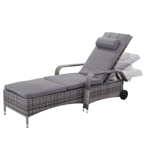 patio lounge chairs with wheels giantex outdoor chaise lounge chair recliner cushioned