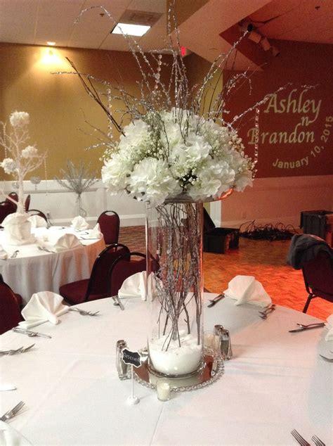 Glass Cylinder Vases With White Hydrangea Baby S Breath Glass Wedding Centerpiece