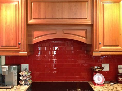 red kitchen backsplash contemporary red kitchen backsplash with wooden cabinet