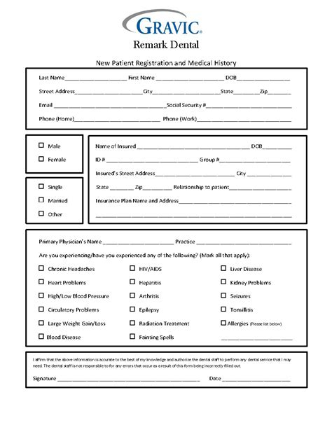 new patient history form template dental patient history form 183 remark software