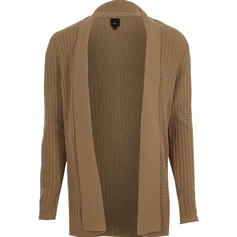Cable Knit Open Front Cardigan light brown cable knit open front cardigan cardigans