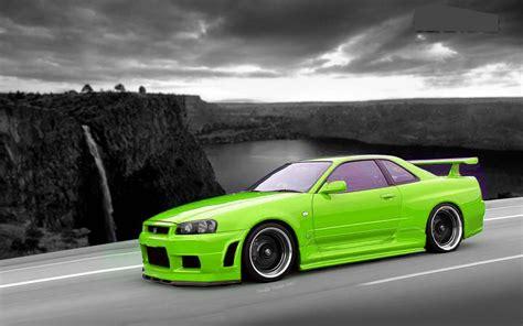 nissan r34 black nissan skyline gtr r34 lime green and black black and