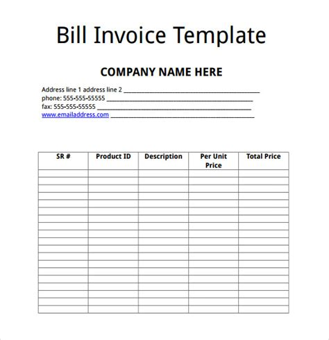 sle invoice template for word bill invoice template 28 images sle billing invoice 12