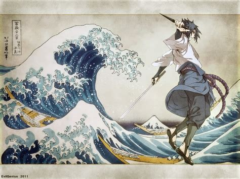 naruto shippuuden uchiha sasuke  great wave