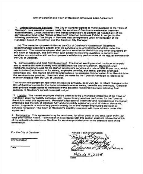 employee loan agreement template free loan agreement form template