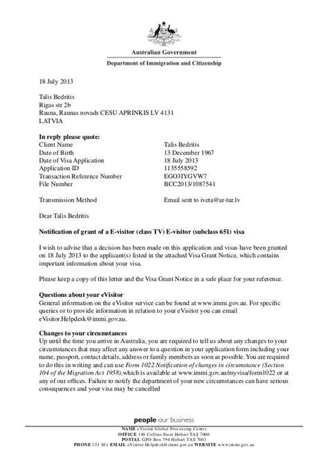 Visa Grant Letter Received Immigrant Notification