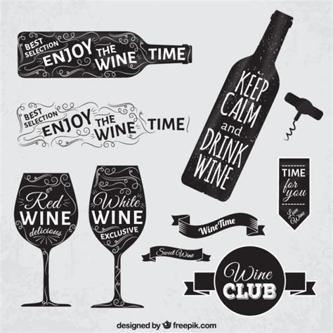 wine vector wine badges in blackboard style vector free