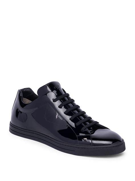 fendi sneaker fendi patent leather sneakers in black for lyst