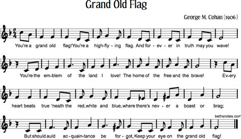 printable lyrics to you re a grand old flag grand old flag beth s notes