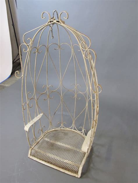 wrought iron swing seat vtg white wrought iron canopy egg outdoor garden porch