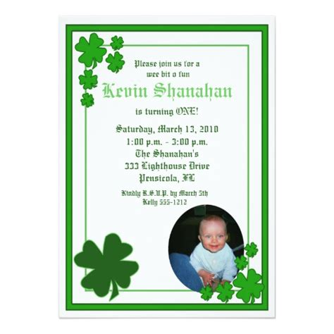 St S Day Photo Card Template by St S Day Shamrock Photo Birthday 5x7 Card Zazzle