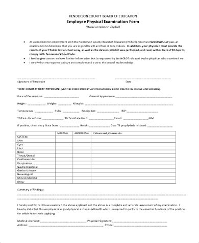 health physical form template sle physical examination form 9 free documents in pdf