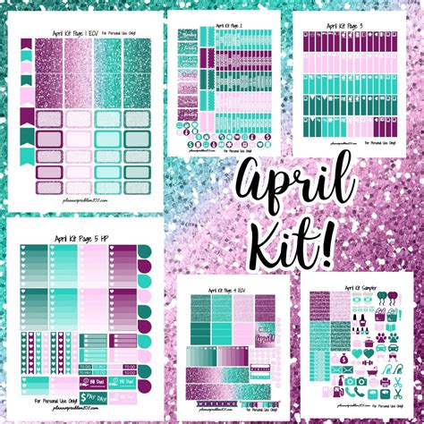 printable planner kits april glitter kit free printable planner stickers