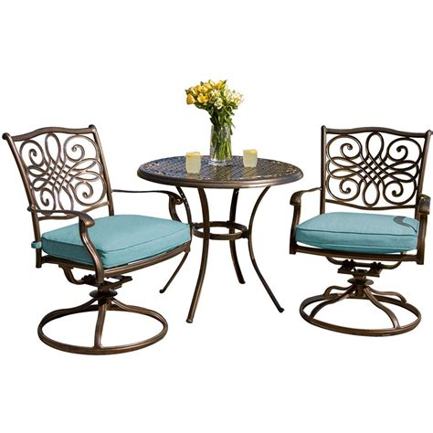 Bistro Patio Table And Chairs Set Hanover Traditions 3 Outdoor Bistro Set With Cast Top Table And Swivel Chairs With