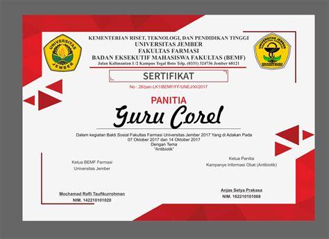 layout sertifikat penghargaan gratis template sertifikat kegiatan bisa di edit cdr