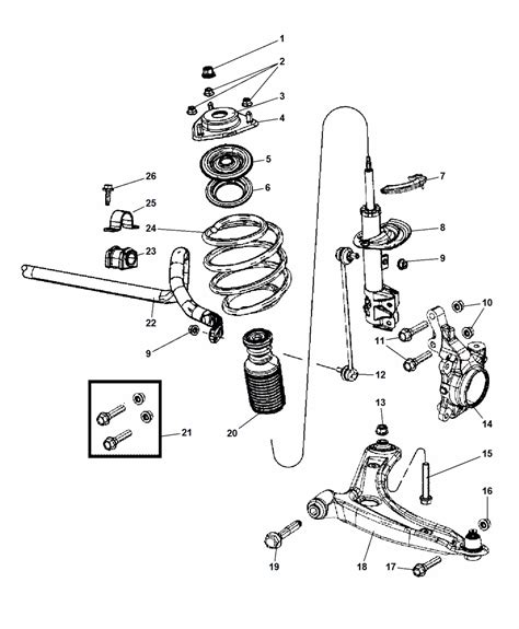 2007 jeep wrangler front suspension diagram 2007 jeep compass suspension front mopar parts