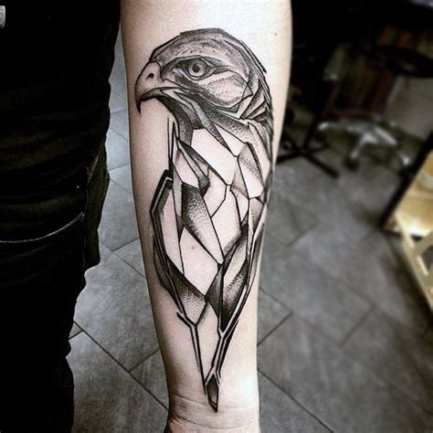 geometric tattoo hawk black ink geometric flying hawk tattoo on forearm