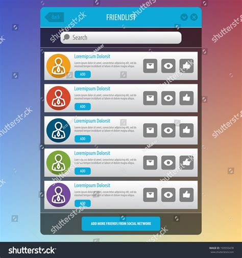 pattern ui mobile flat mobile ui design social network stock vector