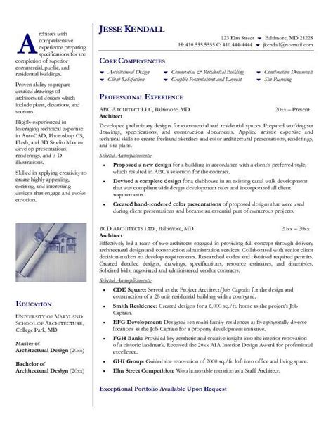 Free Resume Sles For Architects Architecture Products Image Architecture Resume Sle