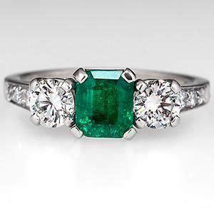 vintage emerald tiffany co engagement ring w diamond