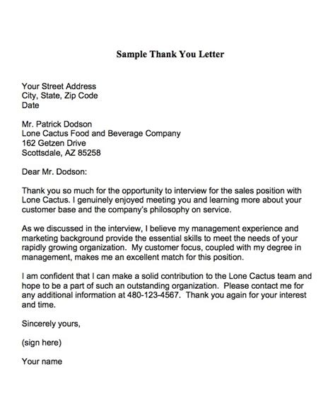 thank you letter to potential thank you letter to potential employer the letter sle