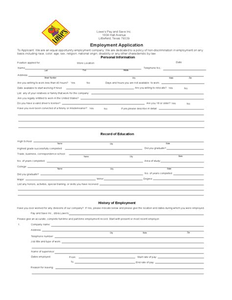 S Application Lowe S Employment Application Form Free