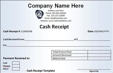 cheque receipt template receipt template free word templates