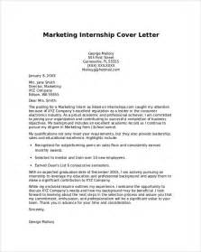 internship cover letter sle marketing cover letter internship