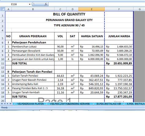 Portofolio Dgn Excel tugas kuliah rab perhitungan rab untuk rumah type 45