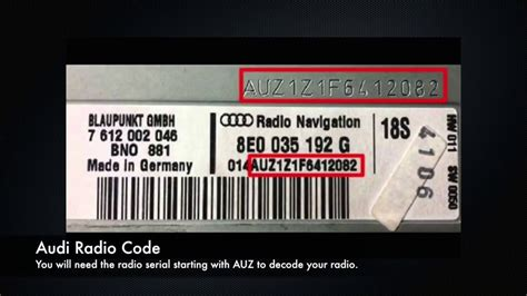 Audi A4 Radio Code by Audi Radio Code Serial Number Pin Unlock A3 A4 A5 A6