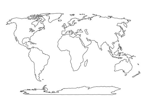 Printable Empty World Map | printable blank world map template for students and kids