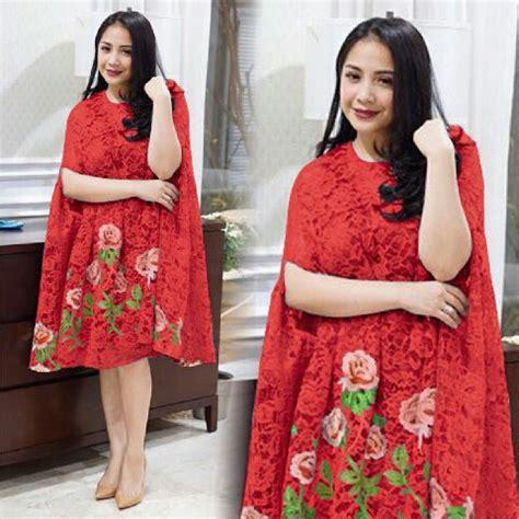 Dress Ambar Brukat Merah Mini Dress Brukat Dress Natal Dress Pesta baju dress pendek kaftan nagita bahan brukat model terbaru