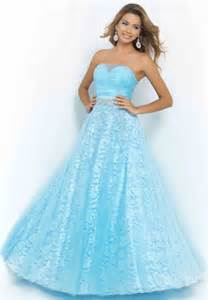 long powder blue strapless beaded lace tulle prom dress