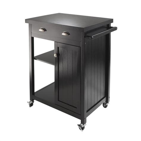 image gallery kitchen trolley kitchen cart with wainscot panel in black finish 20727