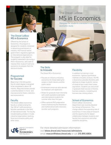 Masters In Economics Vs Mba by Ms In Economics Fact Sheet Masters In Economics