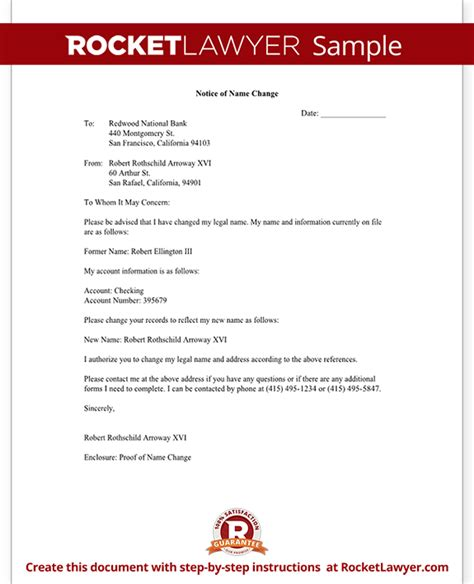 business letter notification name change notification letter free letter template